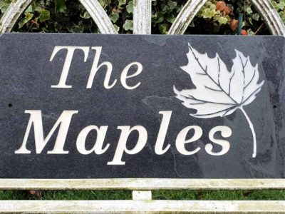 The Maples slate plaque