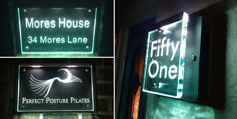 Illuminated Glass House Number and Name Signs lighting the way towards the Festive Season