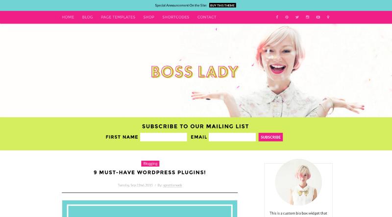 boss lady theme a prettier web