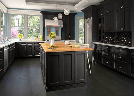 Downtown Dark Kitchen Cabinet - Espresso Color Painting