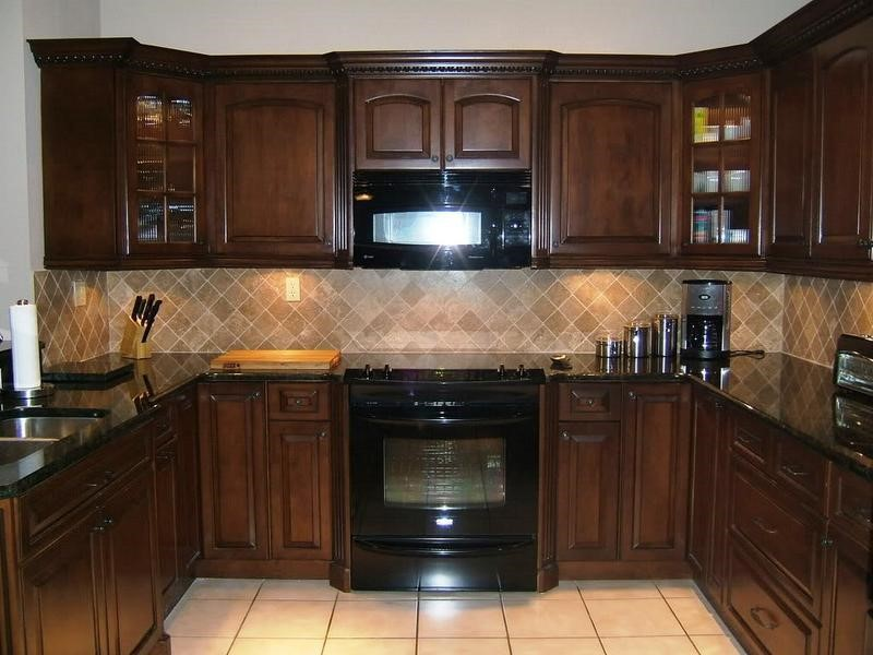Brown Espresso Kitchen Cabinets with Brown Backsplash