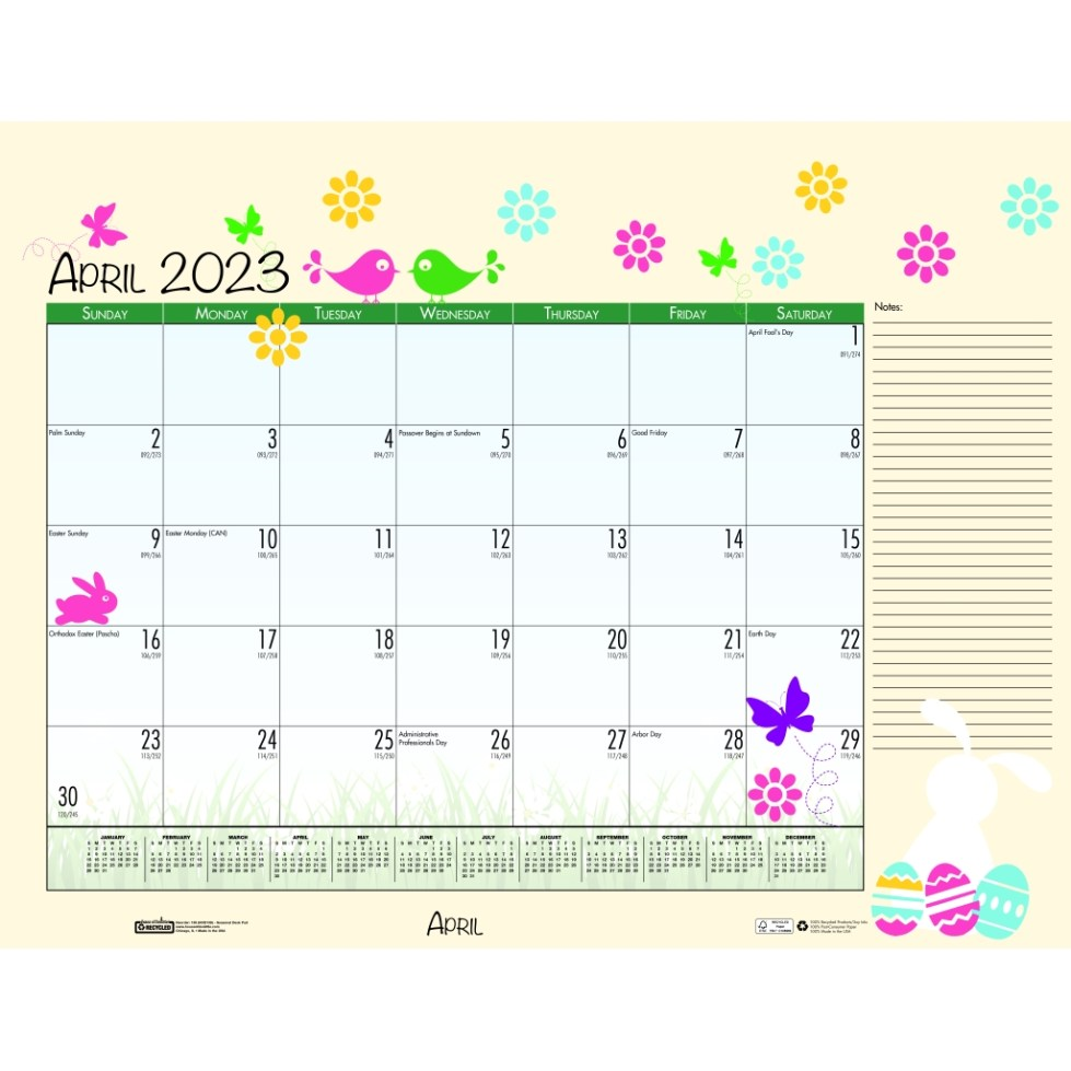 Monthly Deskpad Calendar Seasonal Holiday Depictions 22 x ...