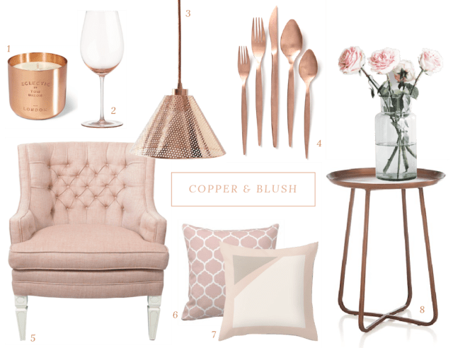copper and blush accents