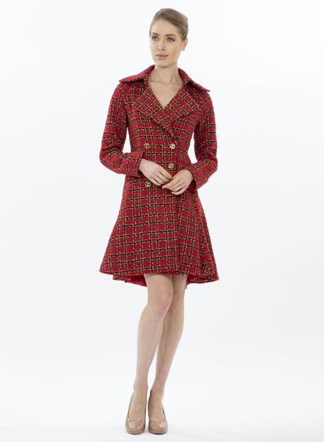 fd539e70555 Red long sleeves tweed dress with gold buttons - House of Hend