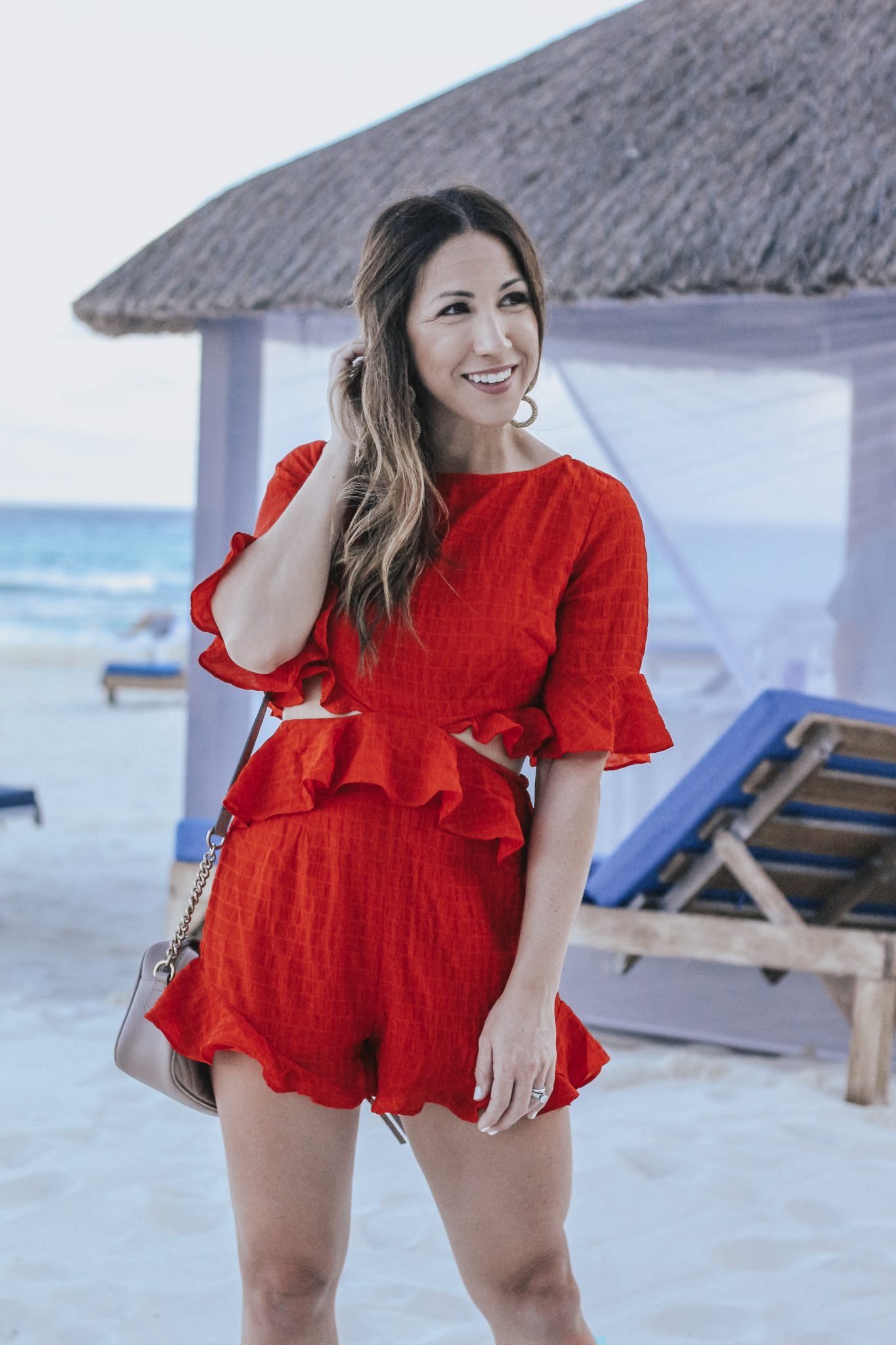 the perfect red romper for the holidays