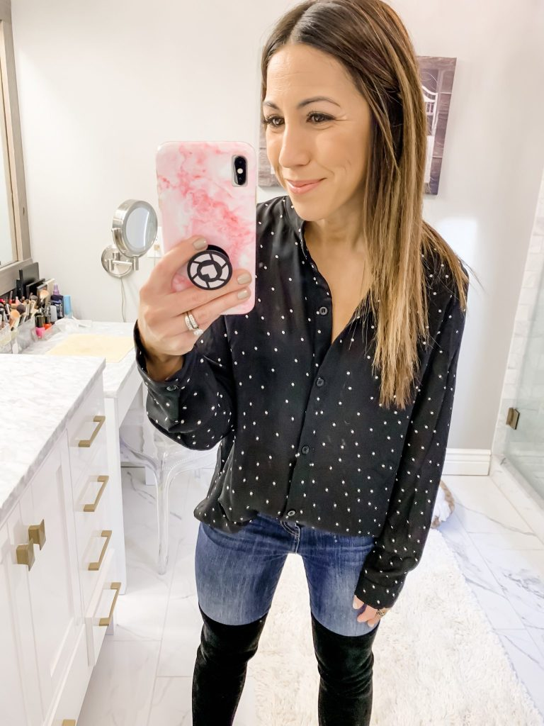 SheIn Haul by top US fashion blog, House of Leo Blog: image of a woman wearing a black polka dot blouse