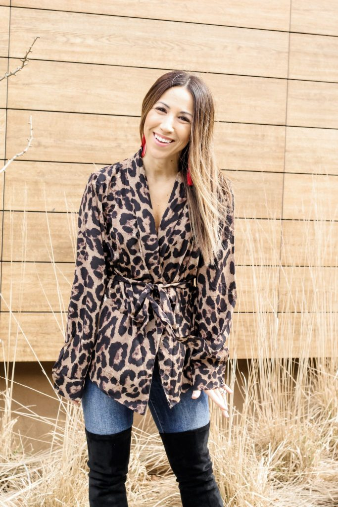 SheIn Haul by top US fashion blog, House of Leo Blog: image of a woman wearing a leopard belted blazer