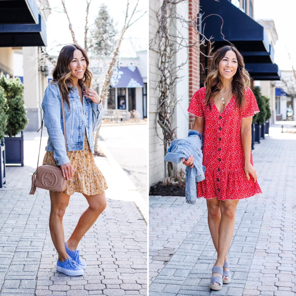 Cute Floral Dresses from Goodnight Macaroon by top US fashion blog, House of Leo Blog, image of wearing spring floral dresses from Goodnight Macaroon
