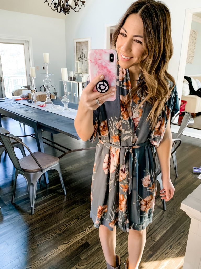 Amazon Haul by top US fashion blog, House of Leo Blog: BTFBM Women V Neck Button Down Short Sleeves Floral Print Casual Summer Dress with Belt