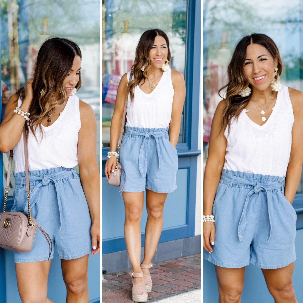 Boho Dress Perfect for Petites by top US fashion blog, House of Leo Blog: image of woman wearing paper bag shorts from Goodnight Macaroon, white tank and Marc Fisher Adalla wedge espadrilles