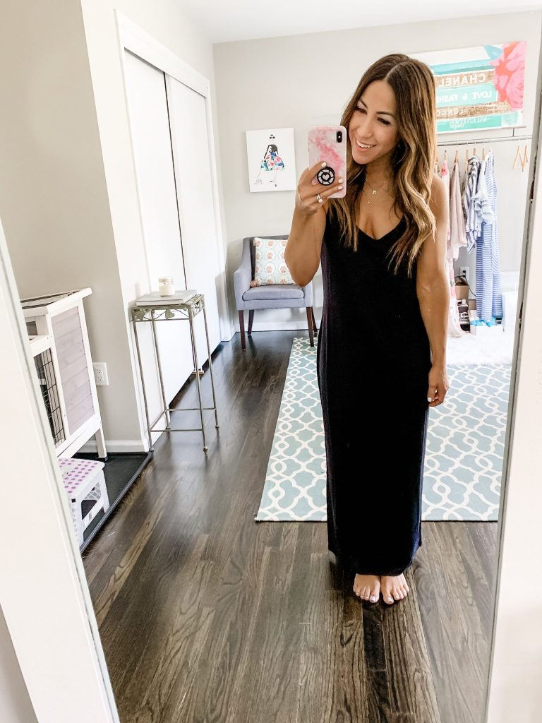 Amazon Haul by top US fashion blog, House of Leo Blog: image of woman wearing Daily Ritual Women's Supersoft Terry Racerback Maxi Dress
