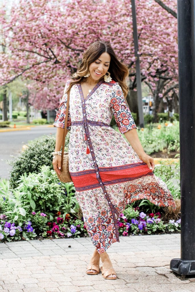 Boho Dress Perfect for Petites by top US fashion blog, House of Leo Blog: image of woman wearing boho maxi dress from Goodnight Macaroon