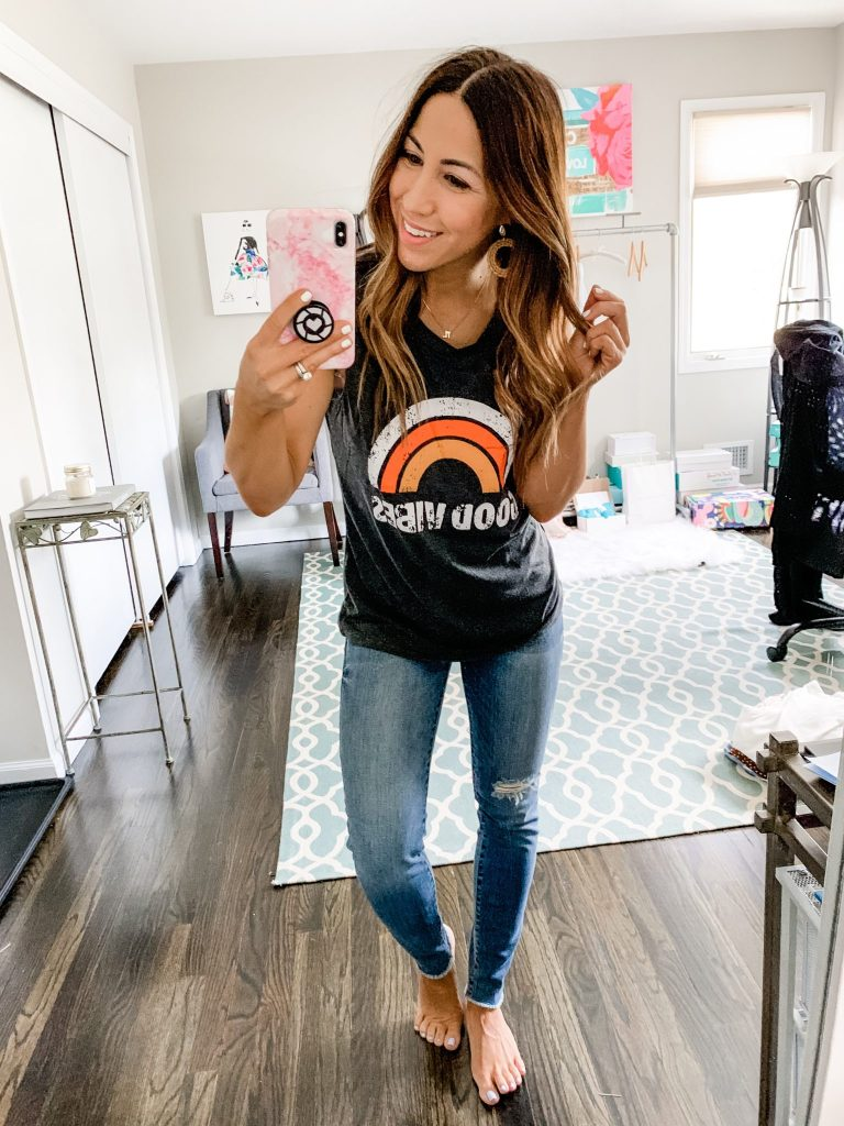 Amazon Haul by top US fashion blog, House of Leo Blog: image of woman wearing Good Vibes Rainbow Graphic Tank