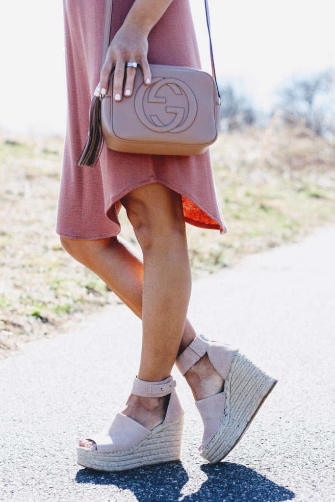 Spring Shoe Review by top US fashion blog, House of Leo Blog: image of Dolce Vita Straw Espadrille and Gucci Disco bag