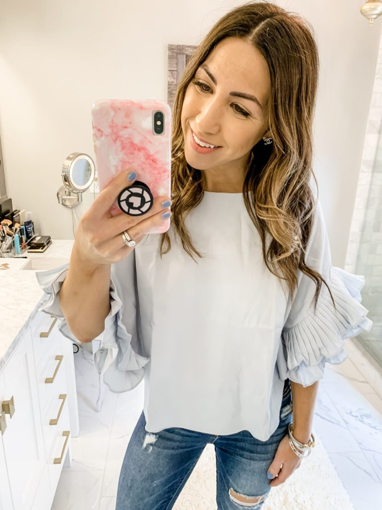 SheIn Haul by top US fashion blog, House of Leo Blog: image of woman wearing Pleated Ruffle Sleeve Dolphin Hem Top