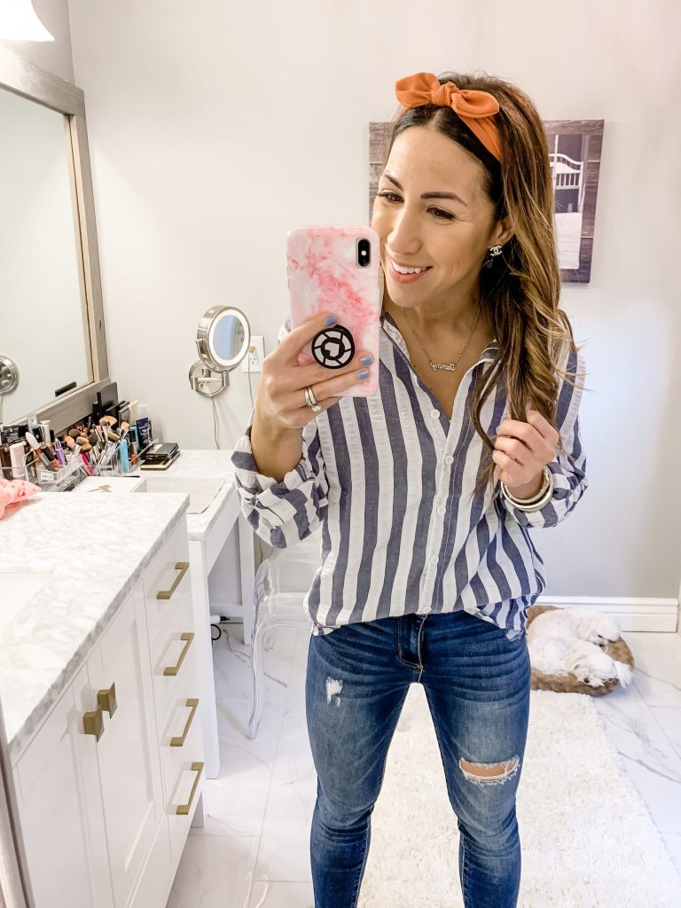 SheIn Haul by top US fashion blog, House of Leo Blog: image of woman wearing Contrast Striped Drop Shoulder Rolled Sleeve Shirt