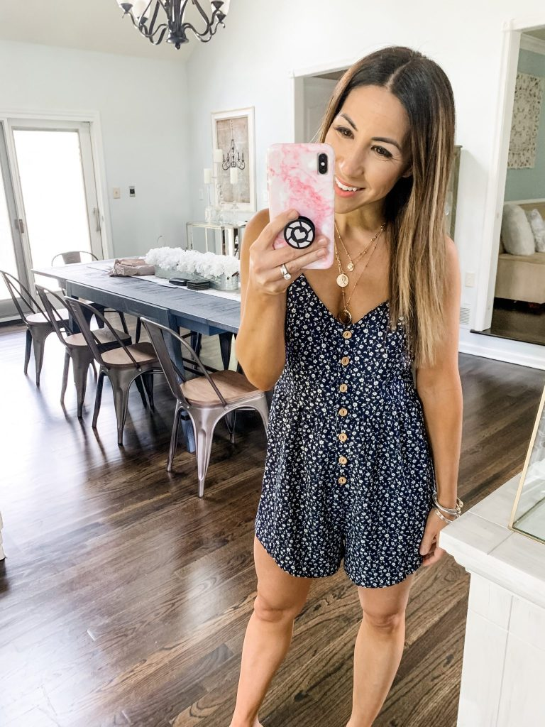 SheIn Haul by top US fashion blog, House of Leo Blog: image of woman wearing a florall button cami romper