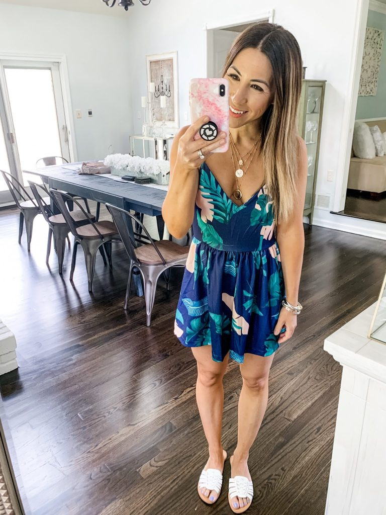SheIn Haul by top US fashion blog, House of Leo Blog: image of woman wearing a leaf print cami romper