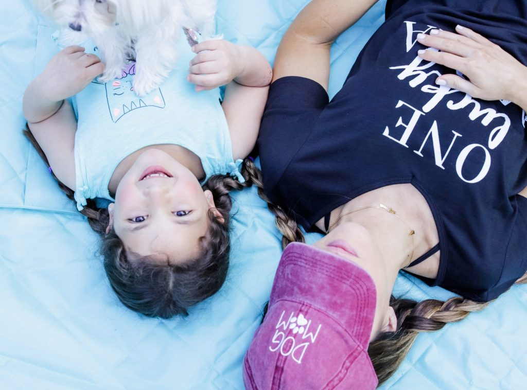How I Balance Blogging and Being A Mom With Stage Stores by top US fashion blog, House of Leo Blog: image of daughter and mother wearing dog mom hat
