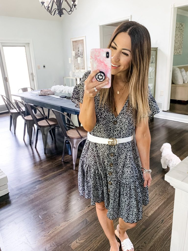 SheIn Haul by top US fashion blog, House of Leo Blog: image of woman wearing a ruffle button up floral dress