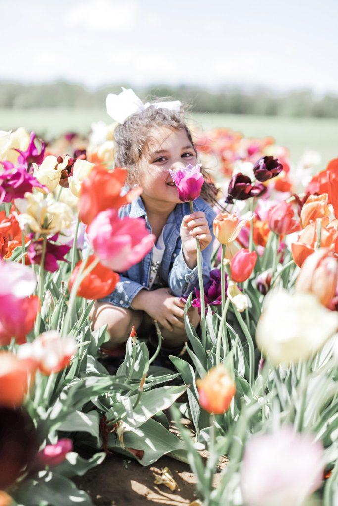 2 Year Blogiversary: 5 Top Tips on How to Grow Your Blog in a Couple of Years by top US fashion blog, House of Leo Blog: image of child at Holland Ridge Tulip Farm