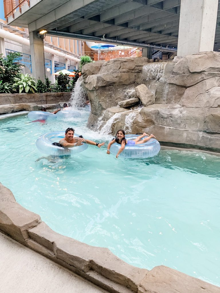 The Kartrite Resort Review by top US lifestyle blog, House of Leo Blog: image of father and daughter at Kartrite Resort Indoor Waterpark