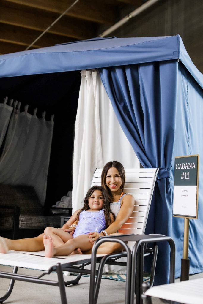 The Kartrite Resort Review by top US lifestyle blog, House of Leo Blog: image of mom and daughter at Kartrite Resort Indoor Waterpark Cabana