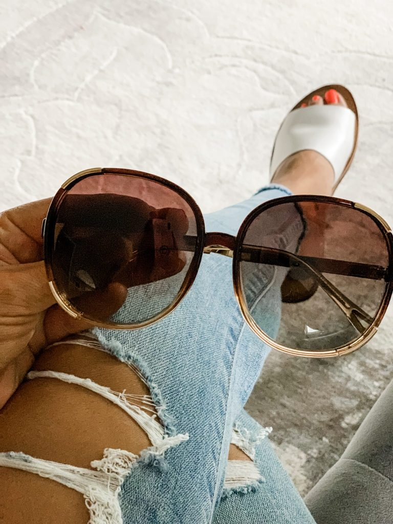 Amazon Haul June by top US fashion blog, House of Leo Blog: image of FAGUMA Oversized Round Polarized Sunglasses