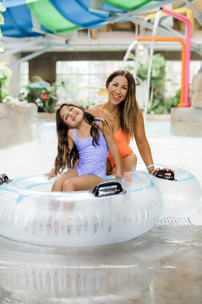 The Kartrite Resort Review by top US lifestyle blog, House of Leo Blog: image of mom and daughter at Kartrite Resort Indoor Waterpark
