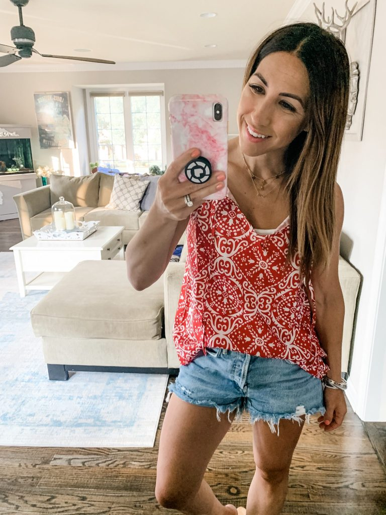 Amazon Haul July by top US fashion blog, House of Leo Blog: image of woman wearing red printed tank and Agolde Parker shorts