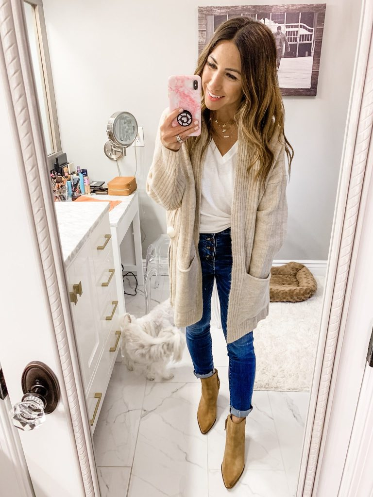 2019 Nordstrom Anniversary Sale First Day Try On by top US fashion blog, House of Leo Blog: image of woman wearing topshop long cardigan, sam edelman welles booties
