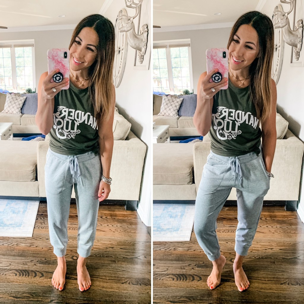 Amazon Haul July by top US fashion blog, House of Leo Blog: image of woman wearing wanderlust tank, Amazon Essentials capri joggers