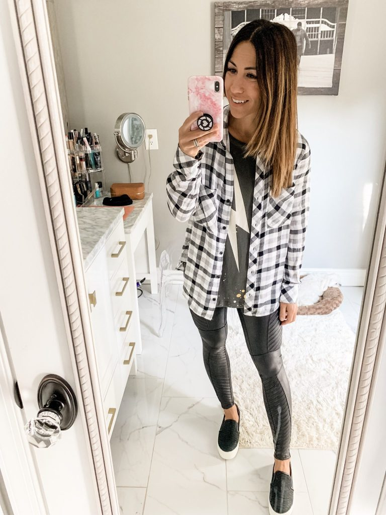 Evereve Labor Day Sale by top US fashion blog, House of Leo Blog: image of woman wearing Chaser lightening bolt tank, spanx moto leggings and cloth and stone snow white button down
