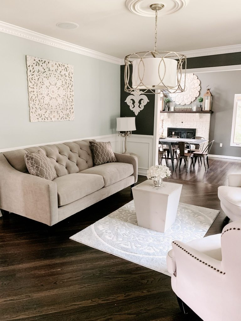 Our Furniture Makeover With Raymour & Flanigan by top US lifestyle blogger, House of Leo Blog: image of Densmore Sofa