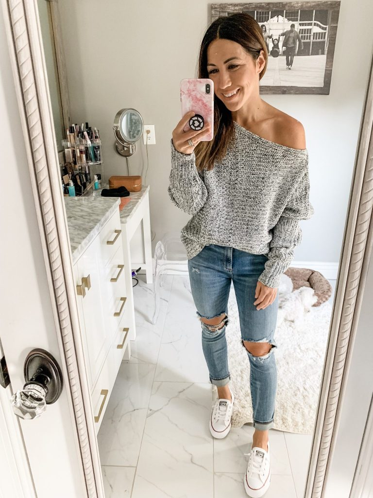 Evereve Labor Day Sale by top US fashion blog, House of Leo Blog: image of woman wearing Sara off the shoulder sweater, agolde sophie crop jeans