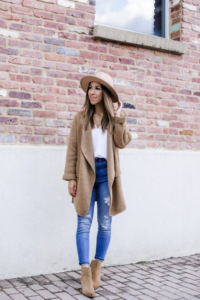 Must Have Fall Cardigan Styled 2 Ways by top US fashion blog, House of Leo Blog: image of woman wearing Goodnight Macaroon Tami cardigan, Express jeans, Sam Edelman brown booties
