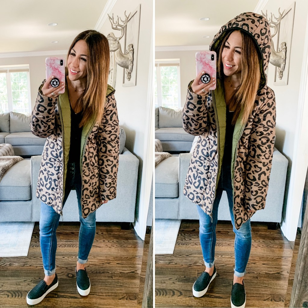 Amazon Haul September by top US fashion blog, House of Leo Blog: image of woman wearing leopard water resistant coat