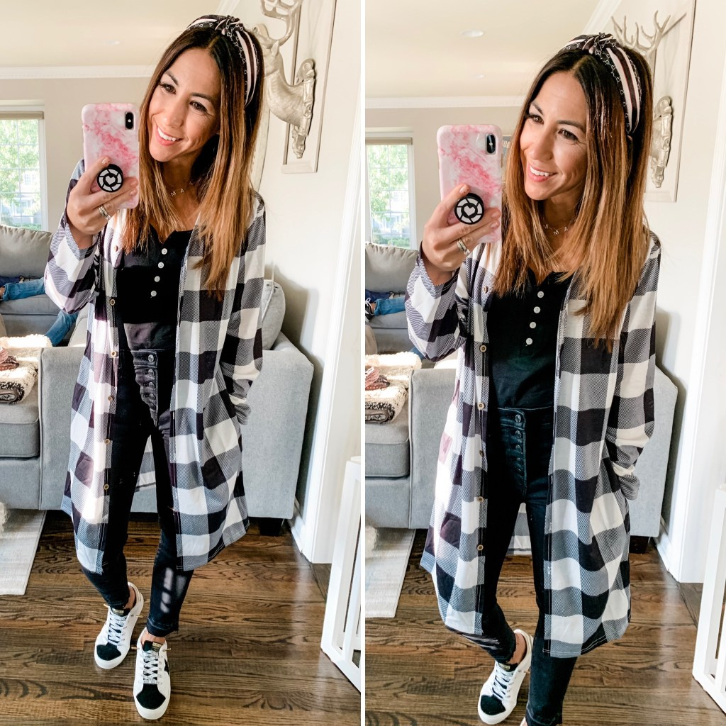 Amazon Haul October by top US fashion blog, House of Leo Blog: image of woman wearing black and white buffalo plaid duster cardigan and Vintage Havana Gadol sneakers