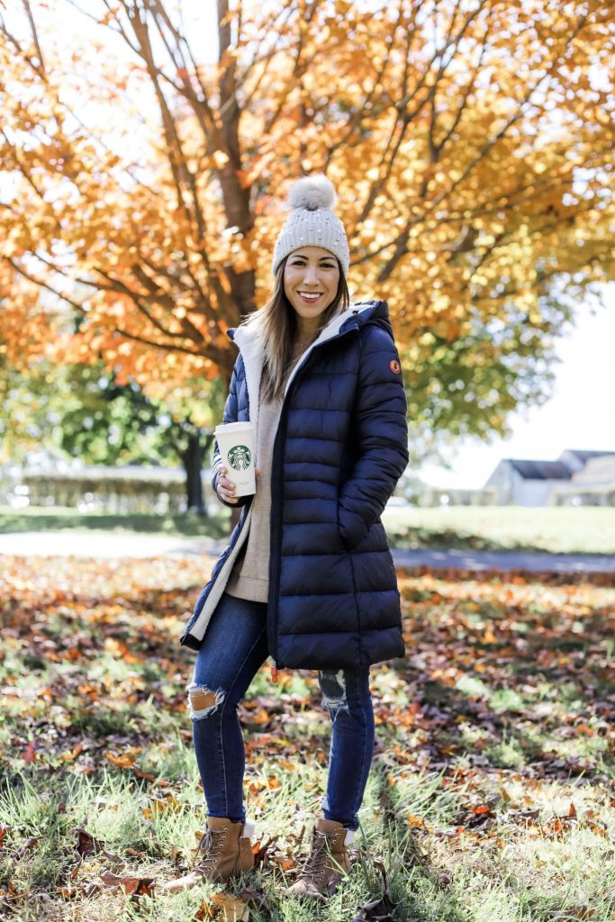 Cruelty Free Winter Coat by top US fashion blog, House of Leo Blog: image of woman wearing winter puffer coat, Giga style by Save The Duck