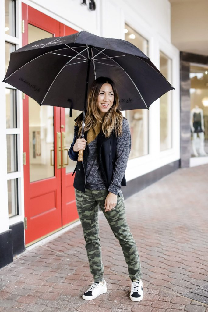 2 Edgy Outfits From Evereve by top US fashion blog, House of Leo Blog: image of woman wearing camo pants, and black pants