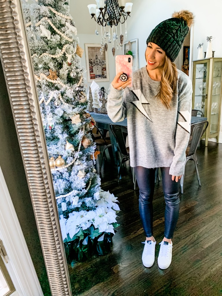 December SheIn Haul by top US fashion blog, House of Leo Blog: image of woman wearing Rails dupe lightning bolt gray sweater