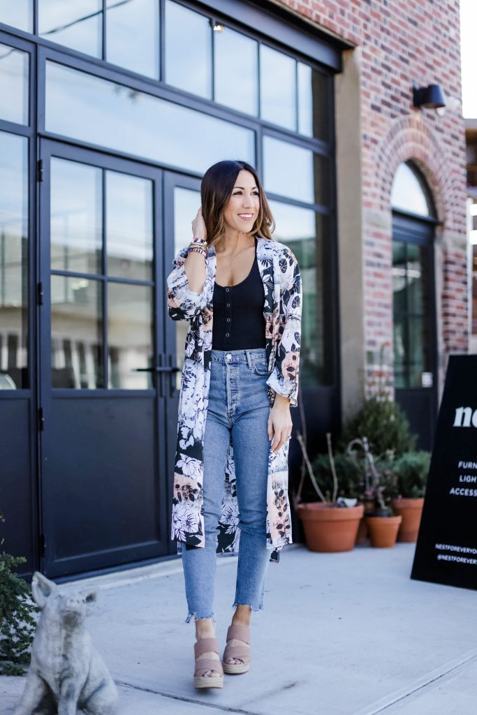 Spring Arrivals From Evereve by top US fashion blog, House of Leo Blog: image of woman wearing black henley bodysuit, floral kimono, Agolde straight leg denim and Kenneth Cole Olivia wedges