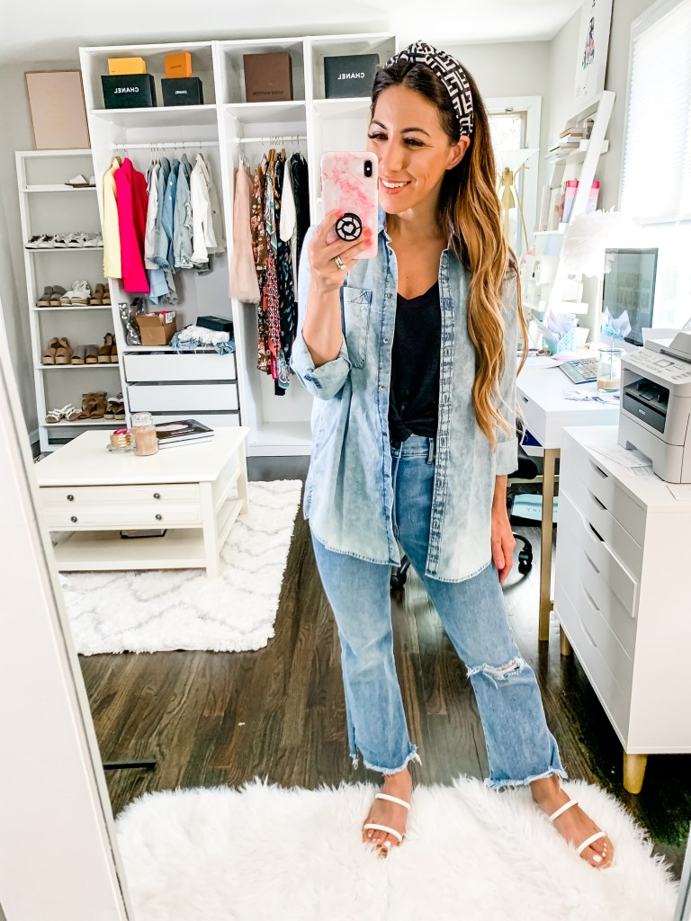 June Finds From Express by top US fashion blog, House of Leo Blog: June finds from Express, image of woman wearing flare cropped jeans and acid wash denim shirt