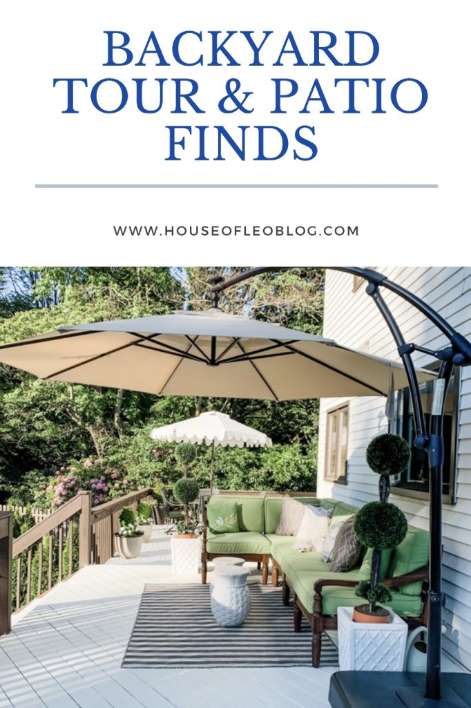 Backyard tour and patio finds by top US lifestyle blogger, House of Leo Blog: patio finds, stripe outdoor rug, pottery barn outdoor furniture