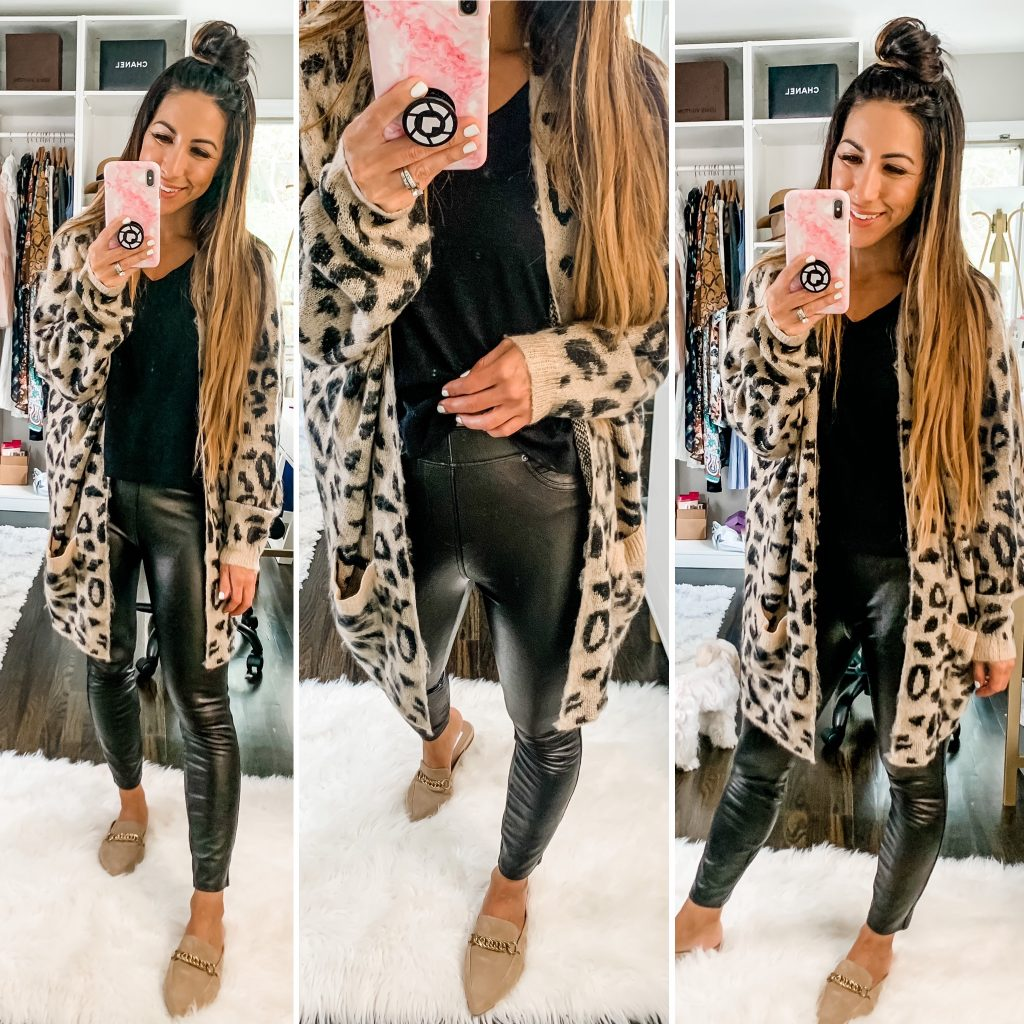 How To Style Spanx This Fall by top US fashion blog, House of Leo Blog: image of woman wearing Spanx faux leather pants and leopard cardigan