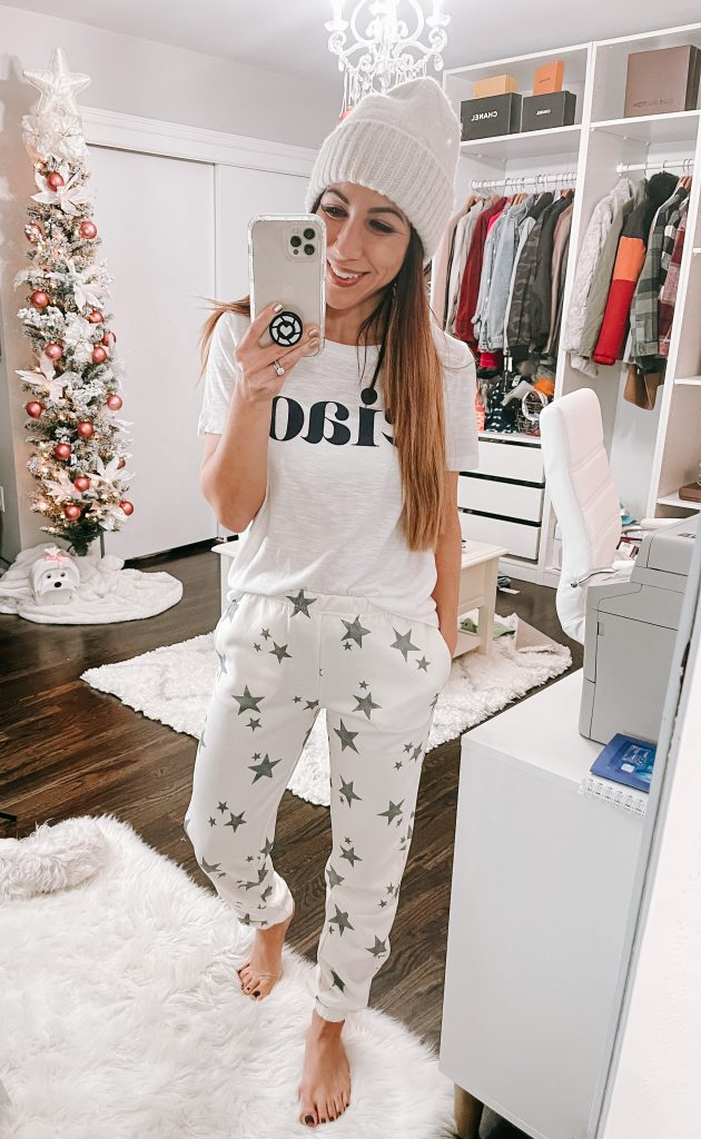 November Target Haul by top US fashion blog, House of Leo Blog: November Target haul , image of star sweatpants and ciao tee shirt