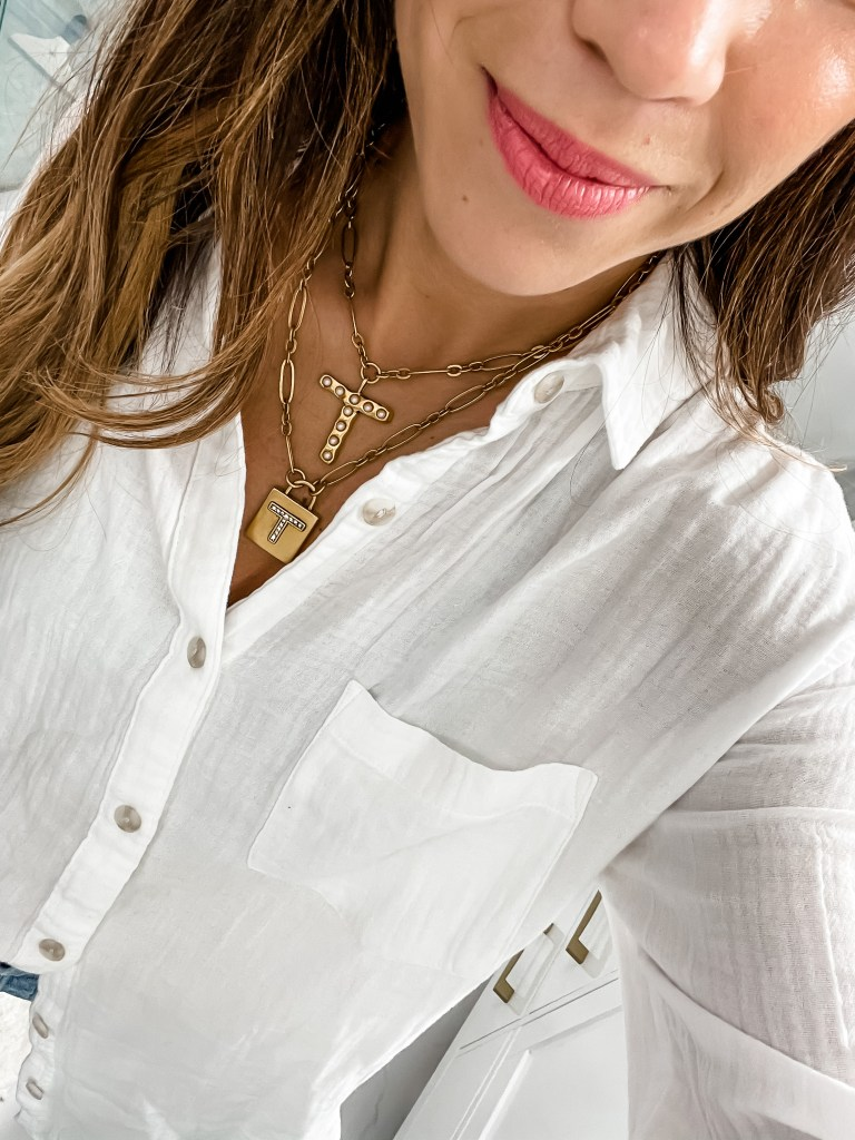 Spring Splurges To Invest In This Spring by top US fashion blog, House of Leo Blog: spring splurges to invest in, image of sequin necklaces, padlock necklace, initial pearl necklace