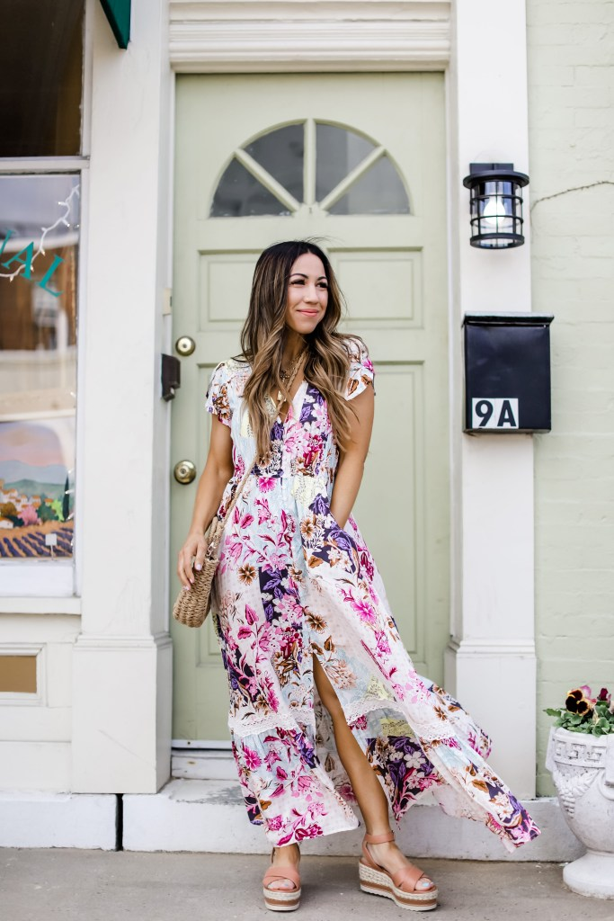 Spring And Summer Boho Dresses by top US fashion blog, House of Leo Blog: spring and summer boho dresses, image of long floral maxi dress