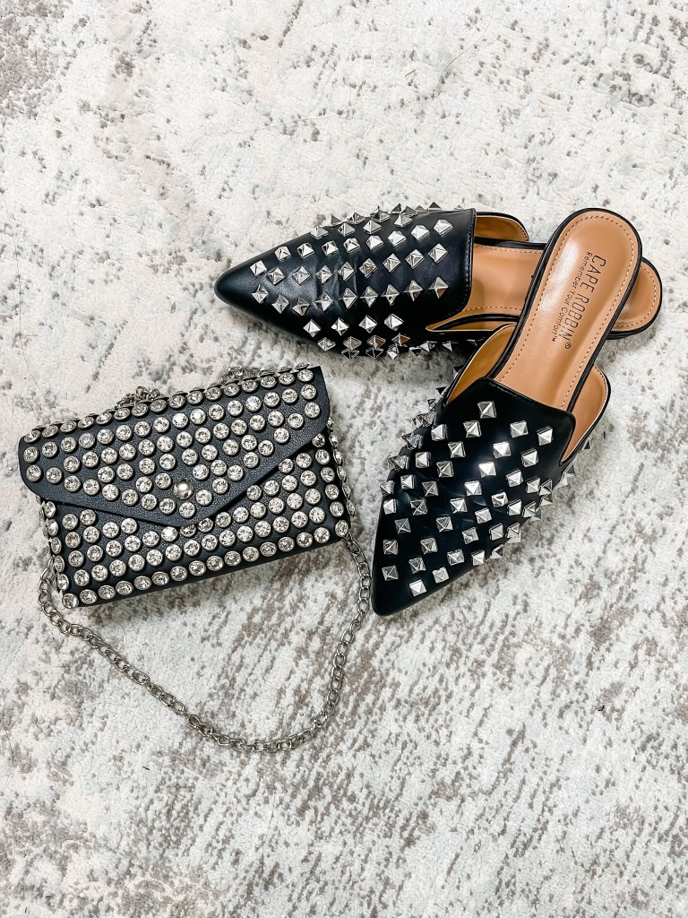 September Amazon Favorites & Amazon Live Info by top US fashion blog, House of Leo Blog: September Amazon favorites, image of studded bag and studded mules