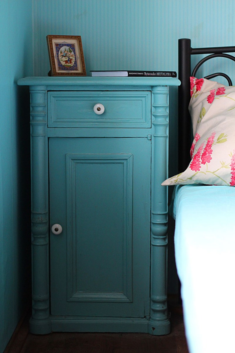 blue night stand bedroom